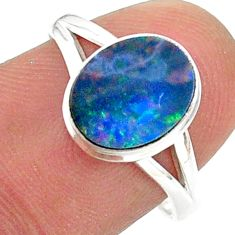 2.41cts natural doublet opal australian silver solitaire ring size 7.5 t34497