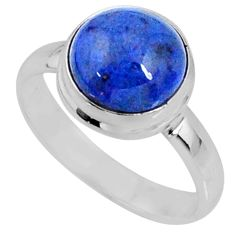 5.02cts natural dumortierite round 925 silver solitaire ring size 7.5 r64768