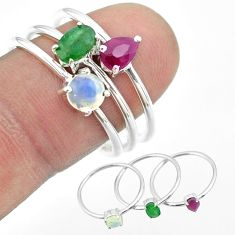 2.98cts natural emerald ethiopian opal ruby 925 silver 3 rings size 8.5 t50992