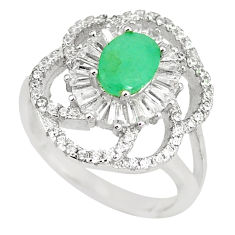 Natural green emerald white topaz 925 sterling silver ring size 6.5 c17956