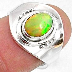 1.77cts natural ethiopian opal 925 silver adjustable ring size 6 r65555