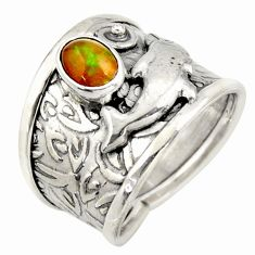 1.00cts natural ethiopian opal 925 silver dolphin solitaire ring size 6.5 d45954