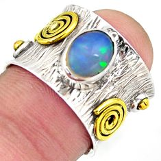 2.10cts natural ethiopian opal 925 silver gold solitaire ring size 5.5 d46457