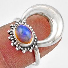 2.09cts natural ethiopian opal 925 silver half moon ring size 7.5 r41637
