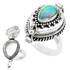 2.39cts natural ethiopian opal 925 silver poison box ring size 7.5 t52841