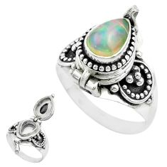 2.05cts natural ethiopian opal 925 silver poison box ring size 8.5 t52852