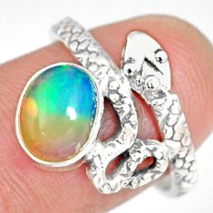 3.13cts natural ethiopian opal 925 silver snake solitaire ring size 7.5 r82533