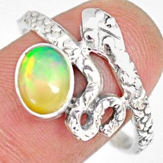2.08cts natural ethiopian opal 925 silver snake solitaire ring size 9 r82532