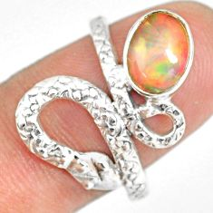 3.05cts natural ethiopian opal 925 silver snake solitaire ring size 9 r82534