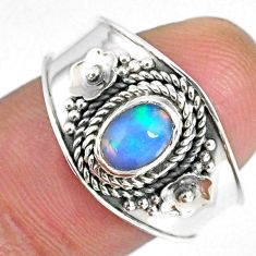 1.53cts natural ethiopian opal 925 silver solitaire ring jewelry size 8.5 r59020