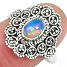 1.47cts natural ethiopian opal 925 silver solitaire ring jewelry size 8.5 r59115