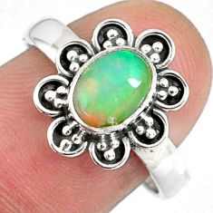 2.17cts natural ethiopian opal 925 silver solitaire ring jewelry size 8.5 r59124