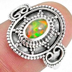 1.56cts natural ethiopian opal 925 silver solitaire ring jewelry size 7.5 r59165