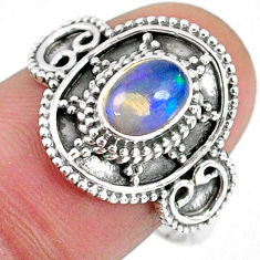 1.66cts natural ethiopian opal 925 silver solitaire ring jewelry size 8.5 r59166