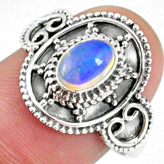 1.66cts natural ethiopian opal 925 silver solitaire ring jewelry size 8.5 r59177