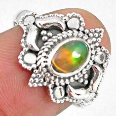 1.47cts natural ethiopian opal 925 silver solitaire ring jewelry size 7.5 r59179