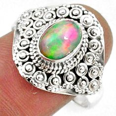 2.01cts natural ethiopian opal 925 silver solitaire ring jewelry size 8.5 r61146