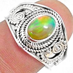 2.05cts natural ethiopian opal 925 silver solitaire ring jewelry size 7.5 r69029