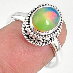 2.13cts natural ethiopian opal 925 silver solitaire ring jewelry size 8.5 r75342