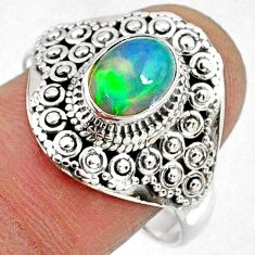 2.09cts natural ethiopian opal 925 silver solitaire ring jewelry size 10 r61154