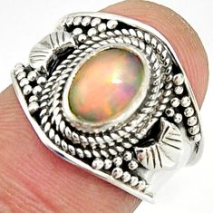 2.02cts natural ethiopian opal 925 silver solitaire ring size 5.5 r24992