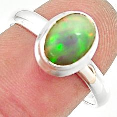 3.26cts natural ethiopian opal 925 silver solitaire ring size 8.5 r35247