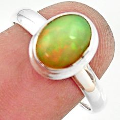 3.30cts natural ethiopian opal 925 silver solitaire ring size 7.5 r35253