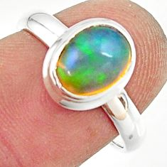 3.24cts natural ethiopian opal 925 silver solitaire ring size 7.5 r35254