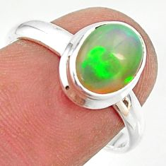 3.10cts natural ethiopian opal 925 silver solitaire ring size 7.5 r35257
