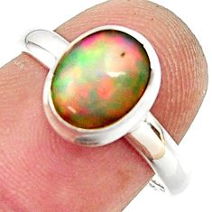 3.29cts natural ethiopian opal 925 silver solitaire ring size 7.5 r35260