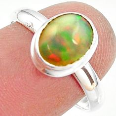 3.24cts natural ethiopian opal 925 silver solitaire ring size 7.5 r35272