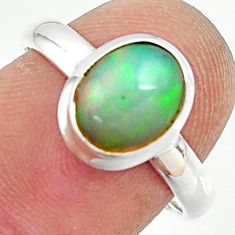 3.29cts natural ethiopian opal 925 silver solitaire ring size 7.5 r35274