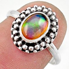 2.38cts natural ethiopian opal 925 silver solitaire ring size 7.5 r41450