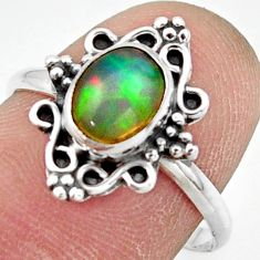 2.28cts natural ethiopian opal 925 silver solitaire ring size 7.5 r41489