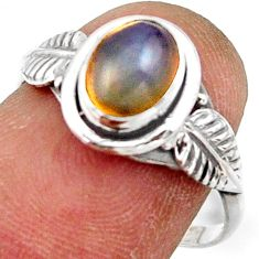 2.36cts natural ethiopian opal 925 silver solitaire ring size 5.5 r41513