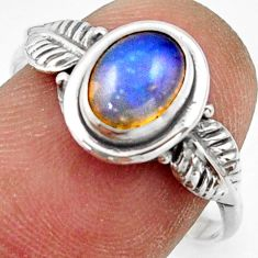 2.36cts natural ethiopian opal 925 silver solitaire ring size 8.5 r41514