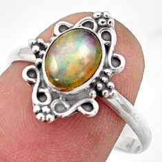 2.28cts natural ethiopian opal 925 silver solitaire ring size 8.5 r41575