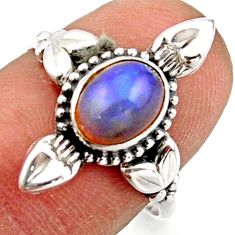 2.31cts natural ethiopian opal 925 silver solitaire ring size 7.5 r41582