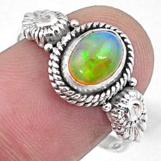 1.96cts natural ethiopian opal 925 silver solitaire ring size 8.5 r57494