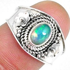 1.42cts natural ethiopian opal 925 silver solitaire ring size 7.5 r59002