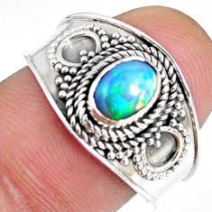 1.63cts natural ethiopian opal 925 silver solitaire ring size 8.5 r59039