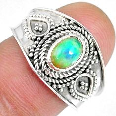 1.57cts natural ethiopian opal 925 silver solitaire ring size 8.5 r59067