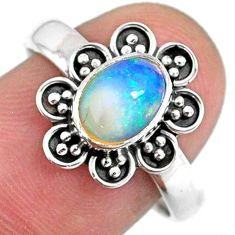 2.21cts natural ethiopian opal 925 silver solitaire ring size 8.5 r59139