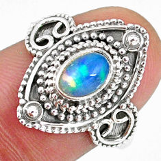 1.54cts natural ethiopian opal 925 silver solitaire ring size 7.5 r59149