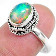 3.22cts natural ethiopian opal 925 silver solitaire ring size 7.5 r64532