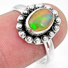 2.30cts natural ethiopian opal 925 silver solitaire ring size 7.5 r64577