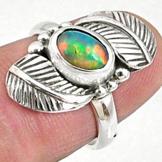2.12cts natural ethiopian opal 925 silver solitaire ring size 5.5 r67316