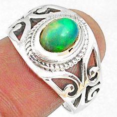 2.16cts natural ethiopian opal 925 silver solitaire ring size 8.5 r68450
