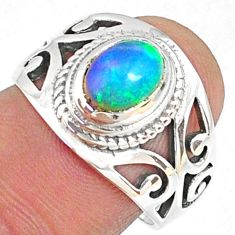 2.10cts natural ethiopian opal 925 silver solitaire ring size 7.5 r68453