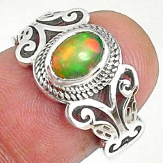 1.63cts natural ethiopian opal 925 silver solitaire ring size 6.5 r68591